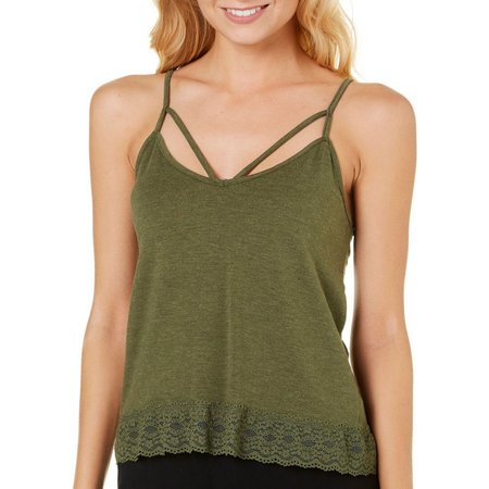 Poof Juniors Peached Caged Strappy Tank Top
