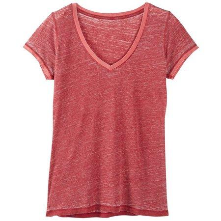 Poof Juniors Burnout Ringer V-Neck T-Shirt