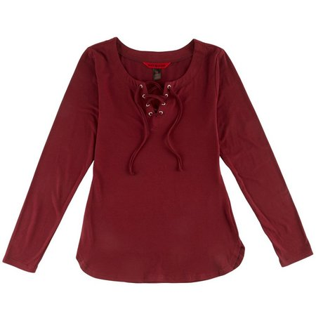 Hot Kiss Juniors Lace-Up Tunic Top