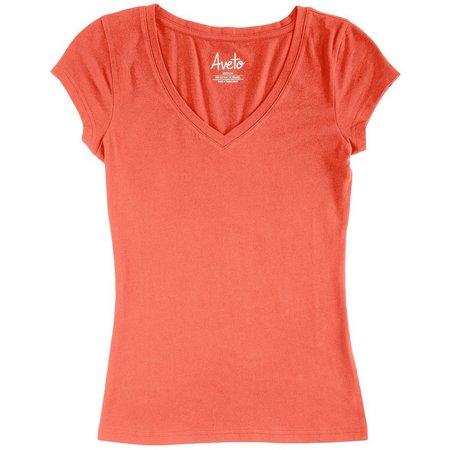 New! Derek Heart Juniors Solid V-Neck T-Shirt
