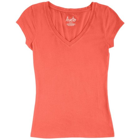 Derek Heart Juniors Solid V-Neck T-Shirt