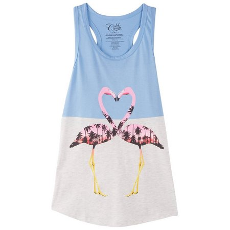 Hybrid Juniors Flamingo Colorblock Tank Top