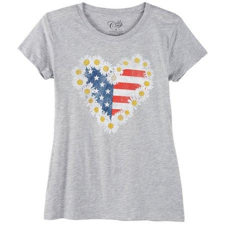 Hybrid Juniors Americana Daisy Flag T-Shirt