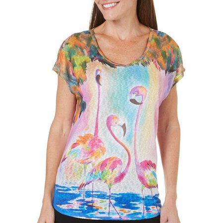 Ellen Negley Womens Funky Flamingos V-Neck Top