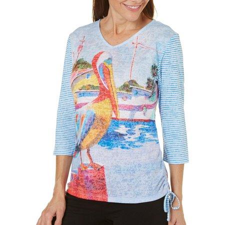 Ellen Negley Womens Pelican Party Rouched Top