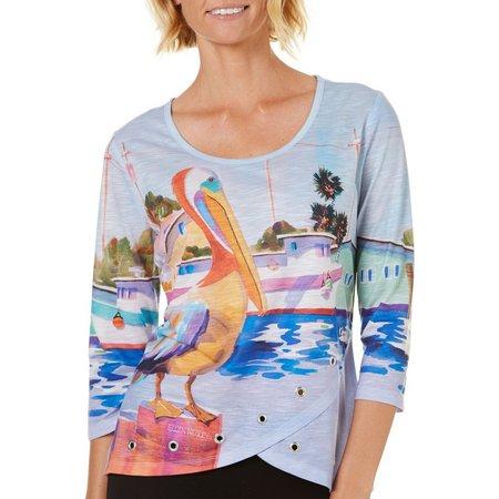 Ellen Negley Womens Pelican Party Grommet Top