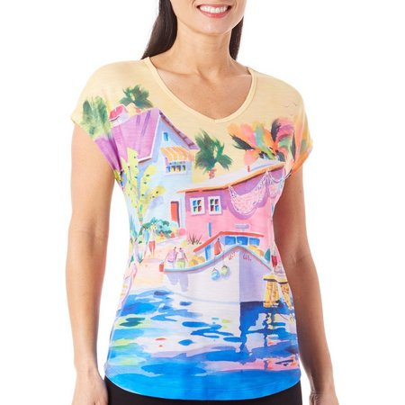 Ellen Negley Womens Ship Shape V-Neck T-Shirt