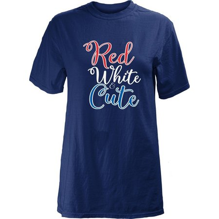Royce Apparel Juniors Red White And Cute T-Shirt