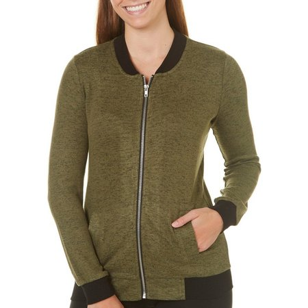 Miss Chievous Juniors Bomber Marled Zip Front Jacket