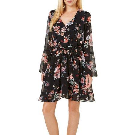 My Michelle Juniors Faux Wrap Floral Print Dress