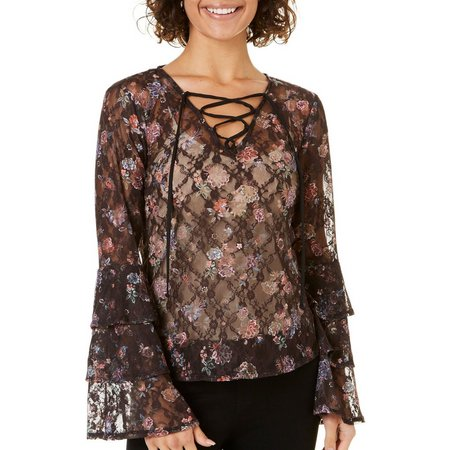 My Michelle Juniors Lace-Up Floral Lace Bell Sleeve