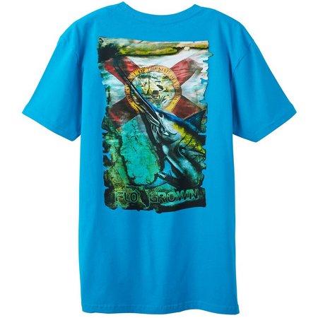 New! FloGrown Mens Flag Marlin T-Shirt