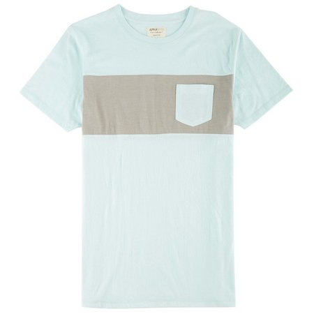 Alpha Beta Mens Aqua Stripe Pocket T-Shirt