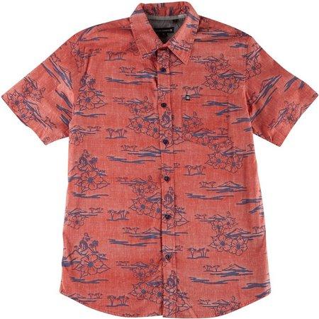 Ocean Current Mens Hidden Hula Woven Shirt