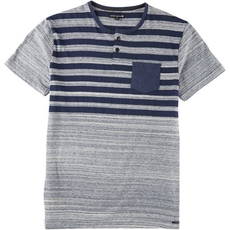 Ocean Current Mens Striped Pocket Henley Shirt