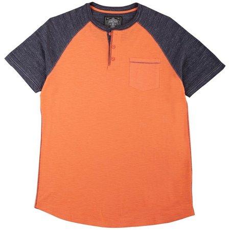 New! Company 81 Mens Coral Henley T-Shirt
