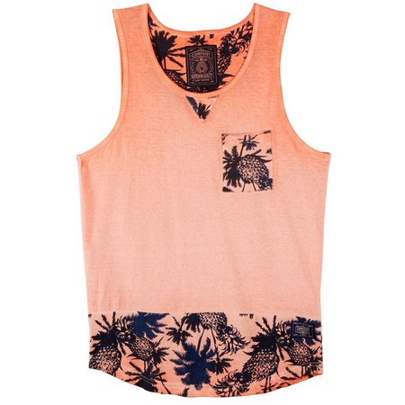Company 81 Mens Coral Pineapple Palm Tree Tank