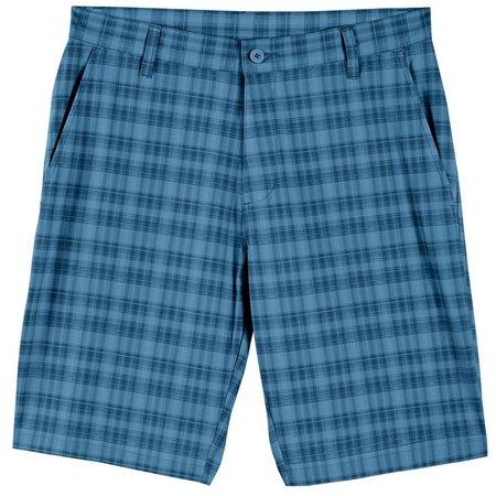 Burnside Mens Blue Plaid Hybrid Shorts