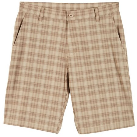 Burnside Mens Khaki Plaid Hybrid Shorts