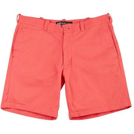 Noblezen Mens Flat Front Solid Shorts