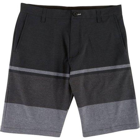 New! Burnside Mens Black Colorblock Hybrid Boardshorts