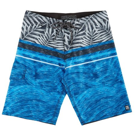 Distortion Mens Navy & Grey Palm Boardshorts