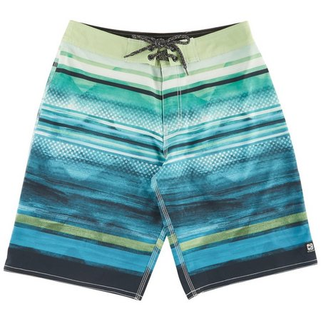 Distortion Mens Green Ombre Stripe Boardshorts