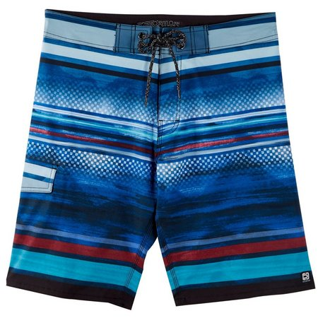 Distortion Mens Blue Stripe & Grid Boardshorts