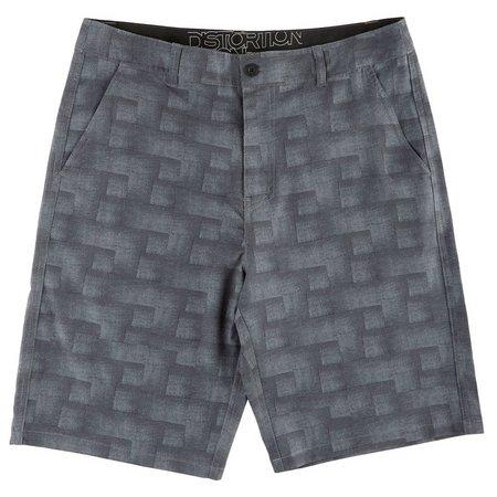 Distortion Mens Grey Geo Hybrid Shorts