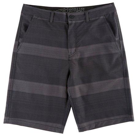 Distortion Mens Black Stripe Hybrid Shorts
