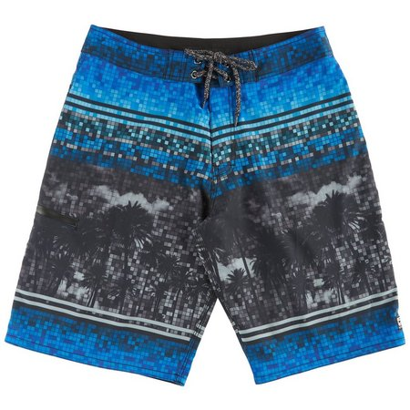 Distortion Mens Blue Square Palm Boardshorts