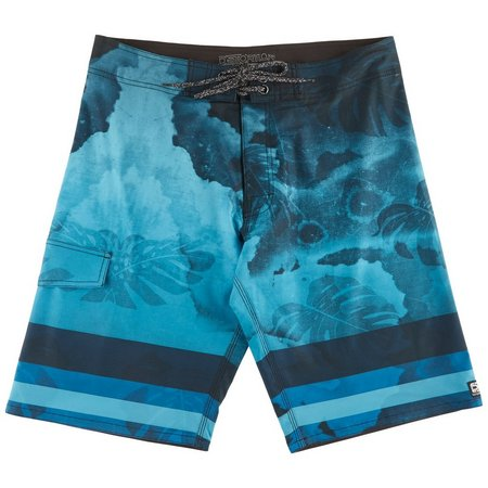 Distortion Mens Blue Leaf Boardshorts