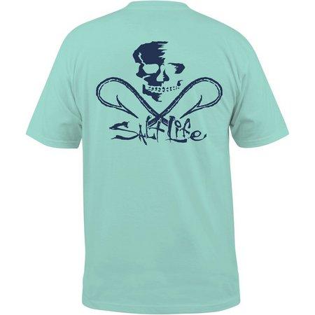 Salt Life Mens Blue Skull & Hooks Pocket