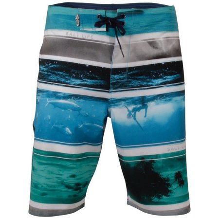 Salt Life Mens Blue Across The Board Boardshorts