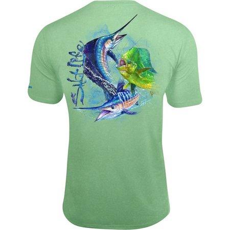 Salt Life Mens Ocean Salm Green UVapor T-Shirt