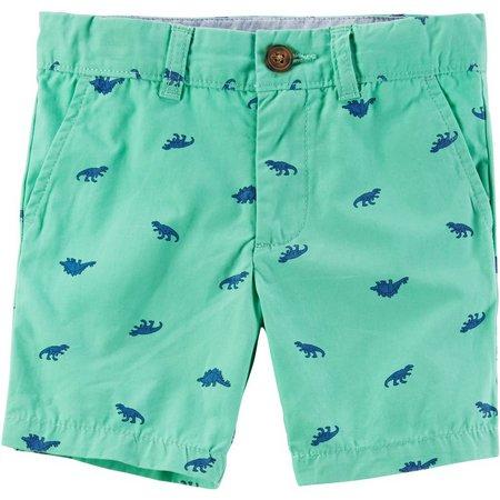 Carters Little Boys Dinosaur Flat Front Shorts