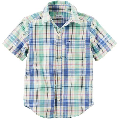 New! Carters Little Boys Plaid Print Button Down