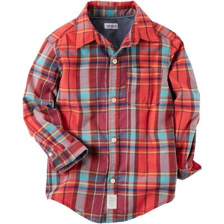 Carters Little Boys Plaid Button-Up Shirt