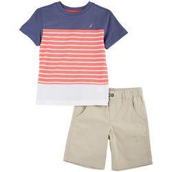 Nautica Little Boys Ink Stripe Shorts Set