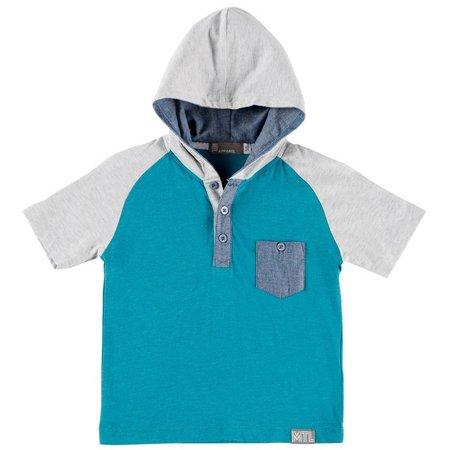 MTL Little Boys Hooded Henley Pocket T-Shirt