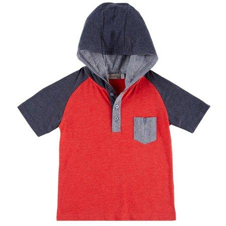 MTL Little Boys Hooded Henley T-Shirt