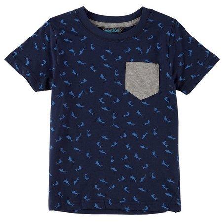 Bold Blue Little Boys Shark Pocket T-Shirt