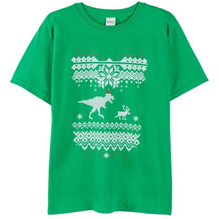 Brisco Big Boys Christmas T-Rex T-Shirt
