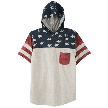 Overdrive Big Boys Stars & Stripes Hoodie T-Shirt