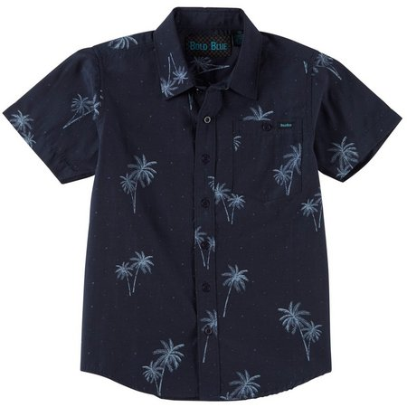 Bold Blue Big Boys Speckled Palm Button Up