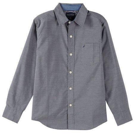 Nautica Big Boys Green Stripe Button Down Shirt