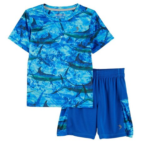 Reel Legends Little Boys Marlin Stripes Shorts Set