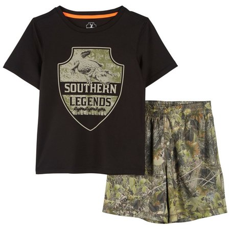 Southern Legends Little Boys Gator Shorts Set