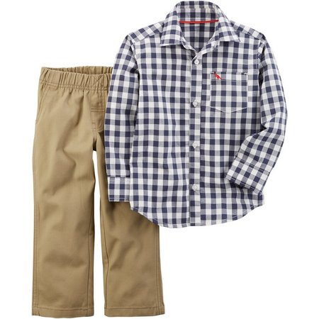 Carters Toddler Boys Gingham Button Down Pants Set