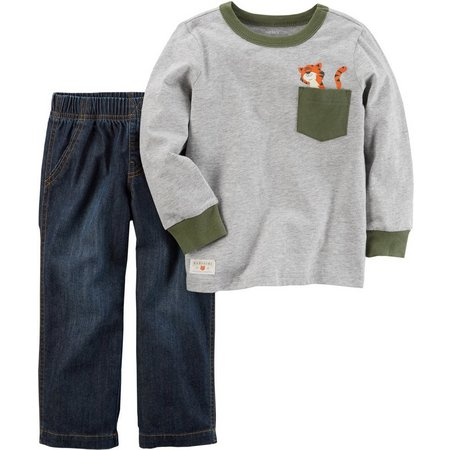 Carters Toddler Boys Tiger Pocket Jeans Set